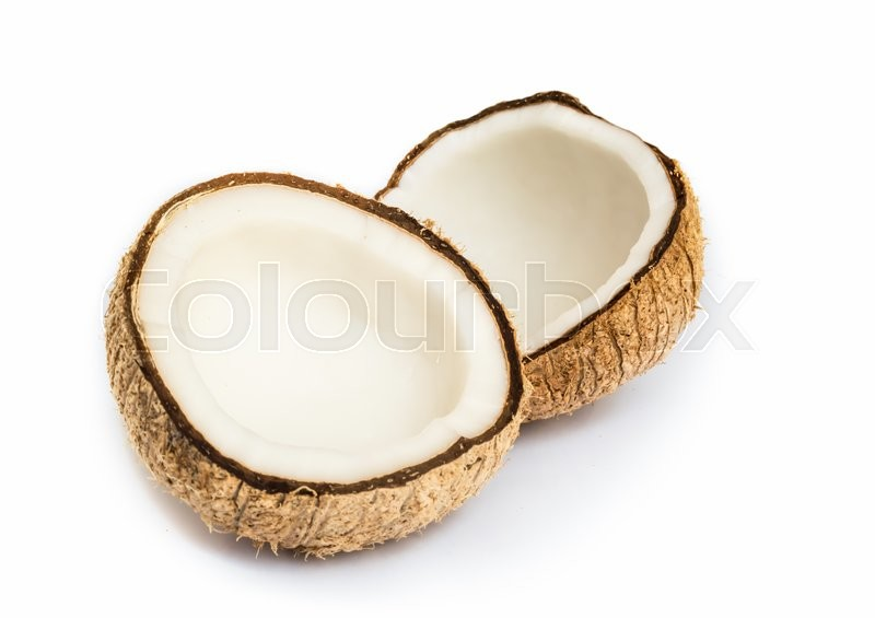 Stock image of 'Half of coconut close up on a white background.'