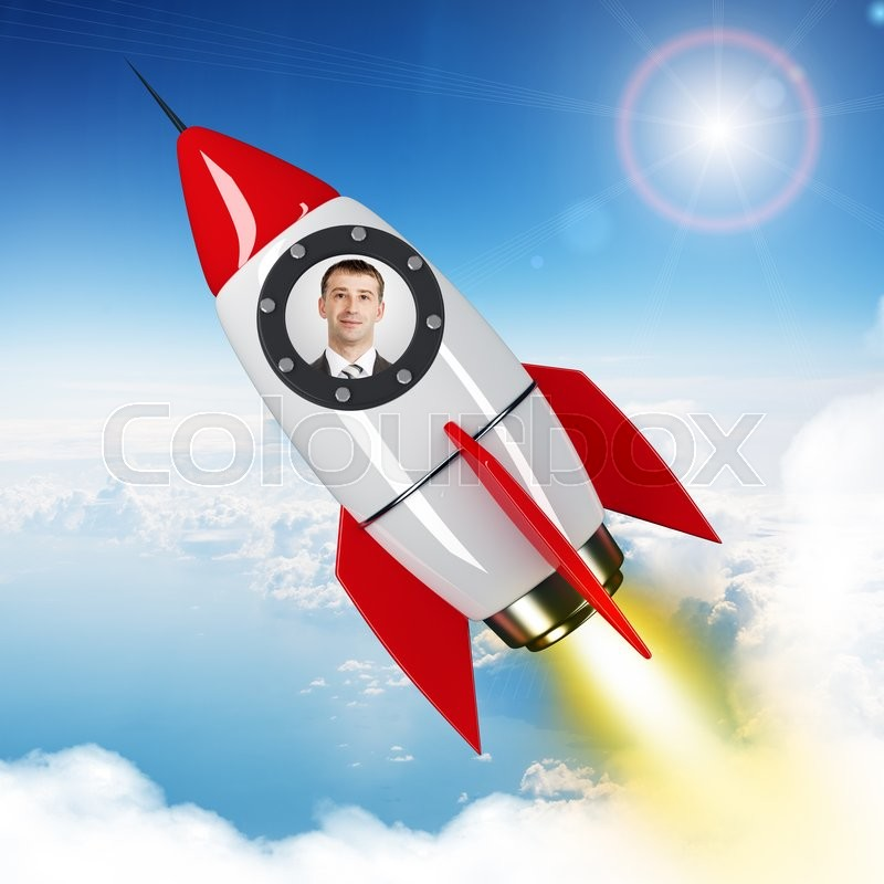 Stock image of 'Young businessman flying in sky on drawn red rocket. 3D rendering'