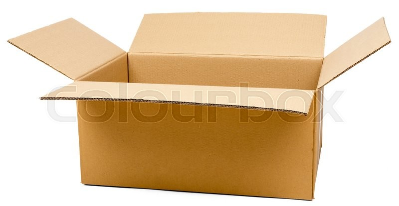 Stock image of 'Opened brown carton shipping box. Isolated on white background'
