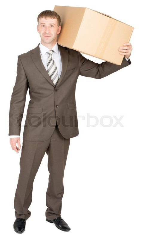 Stock image of 'Happy friendly confident delivery man carrying box over shoulder. Isolated on white'