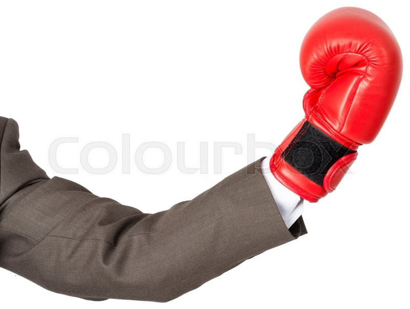 Stock image of 'Hand with boxing glove isolated on white background'