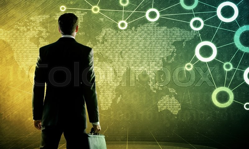 Stock image of 'Businessman in suit against digital background with icons and numbers'