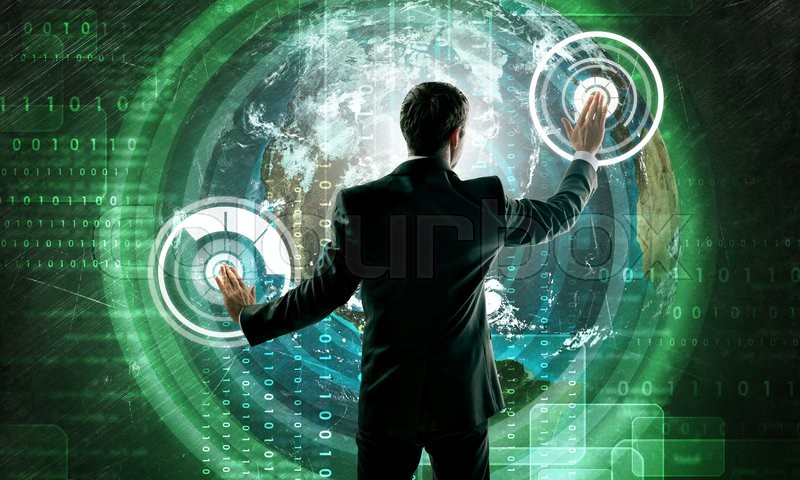 Stock image of 'Businessman in suit against digital background with icons and earh globe. Elements of this image furnished by NASA'