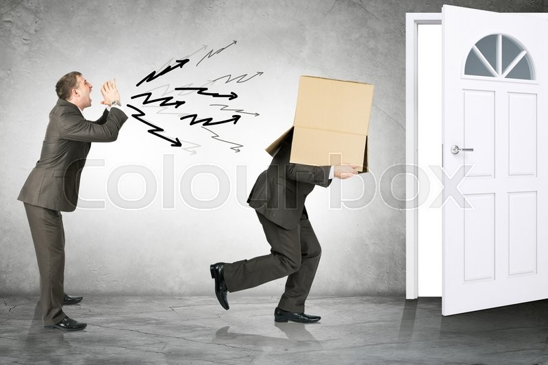 Stock image of 'Business boss shouting to employee with box on his head and running away'