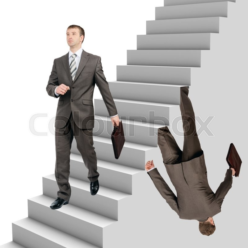Stock image of 'Businessman falling out of stairs with wallking man on white background'