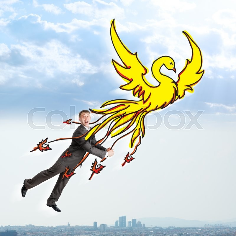 Stock image of 'Surprised businessman flying on drawn firebird in sky'
