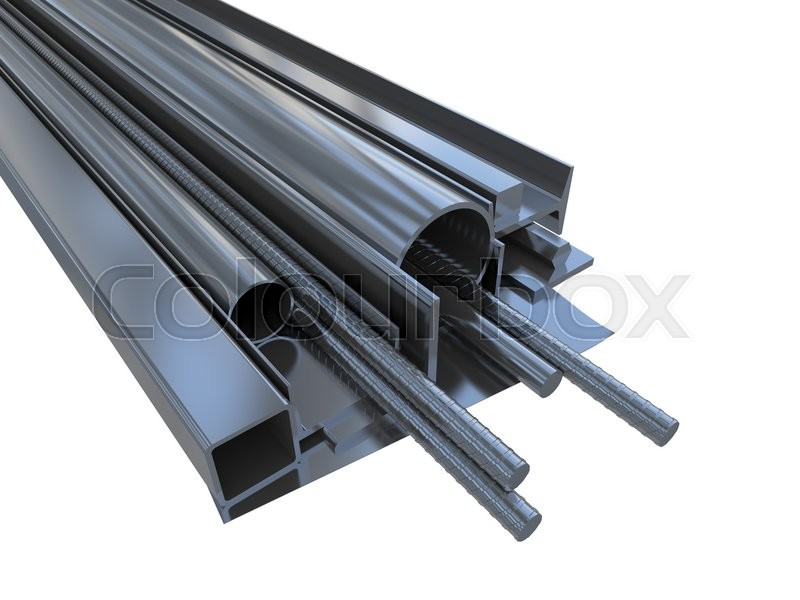 Stock image of 'Black rolled metal products. Isolated on white background. 3D rendering'