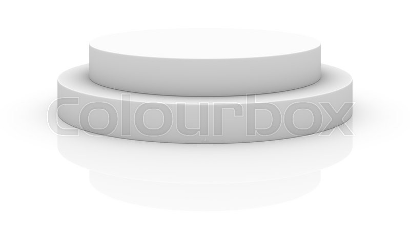 Stock image of 'Empty white round podium isolated on white background'