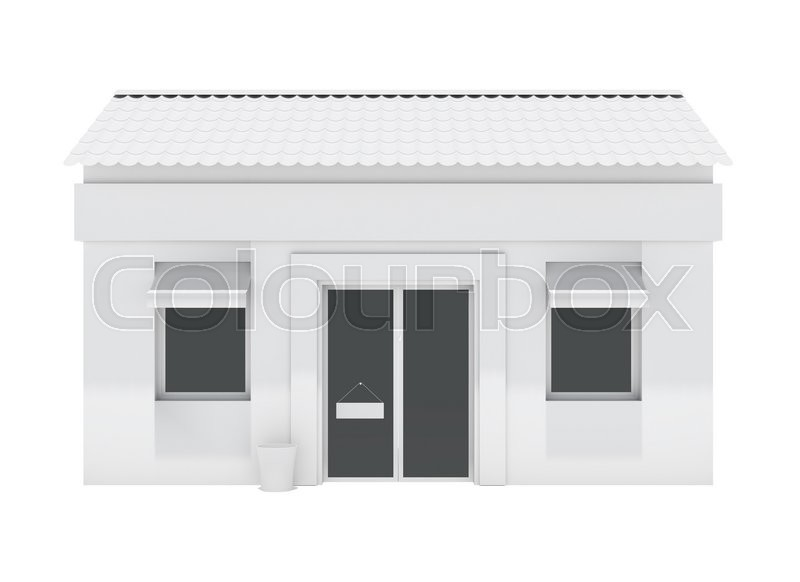 Stock image of 'Shop building isolated on white background. 3d rendering'