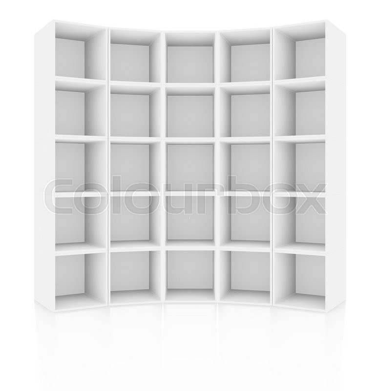 Stock image of 'Empty white cabinet, isolated on white background with reflections. 3D rendering'