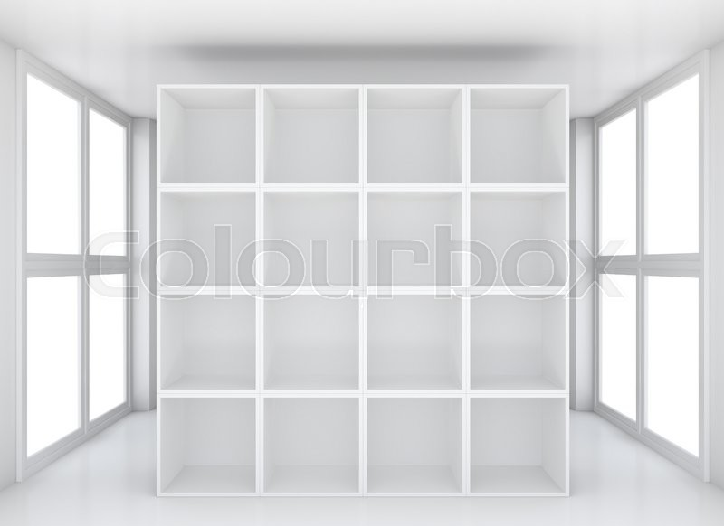 Stock image of 'Blank white exhibition bookshelf in glossy showroom. 3D rendering'