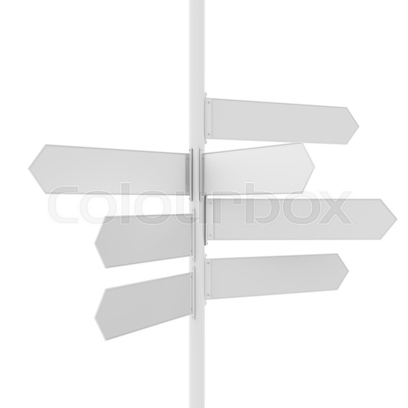 Stock image of 'Empty white road direction pointer, isolated on white. 3D rendering'