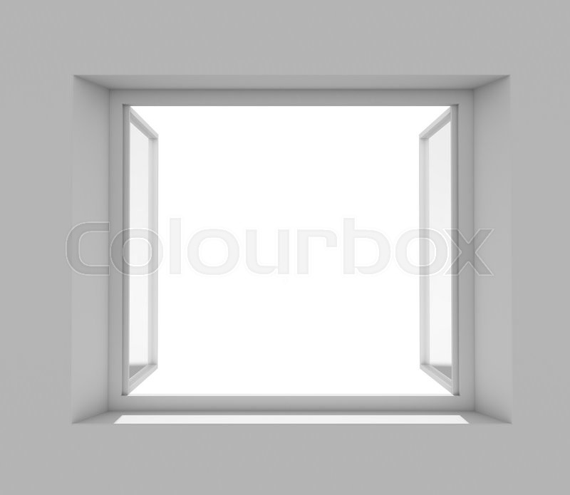 Stock image of 'Open window with empty white wall. 3D rendering'
