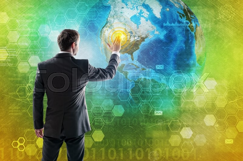 Stock image of 'Businessman in suit press button on digital background with Earth. Elements of this image furnished by NASA'