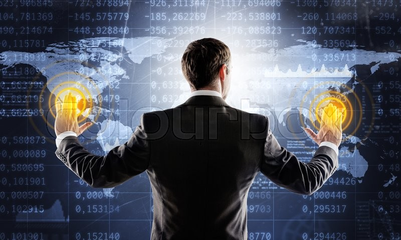 Stock image of 'Businessman in suit against digital background with icons and world map'