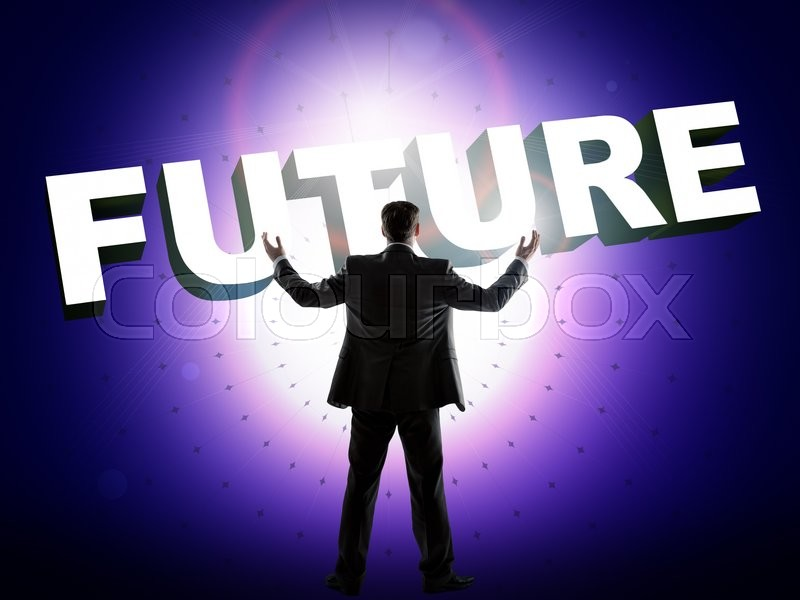 Stock image of 'Businessman looks on word future, technology concept'