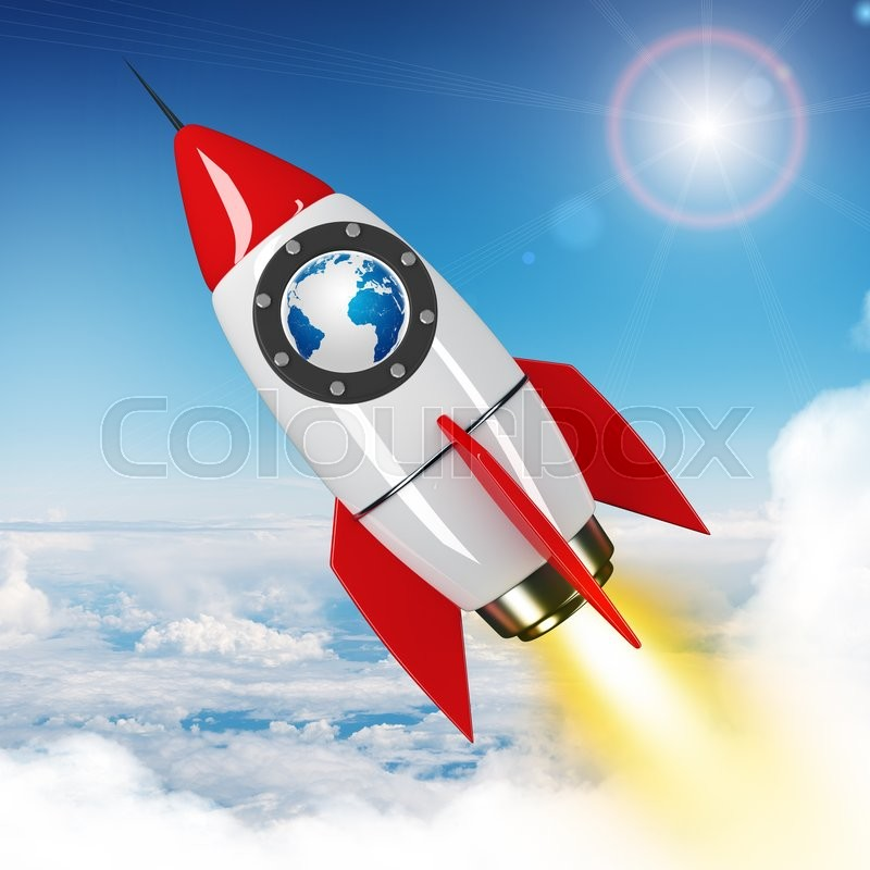 Stock image of 'Earth globe flying in sky on drawn red rocket'