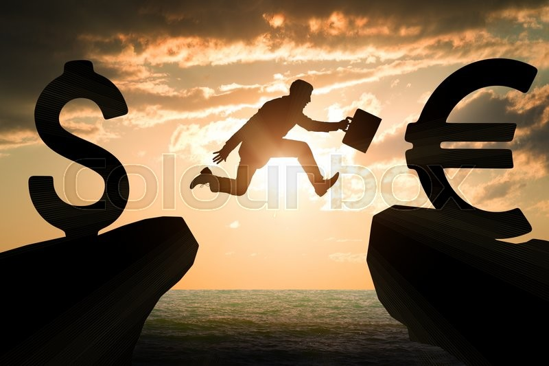 Stock image of 'Businessman with suitcase hopping over abyss from dollar to euro'