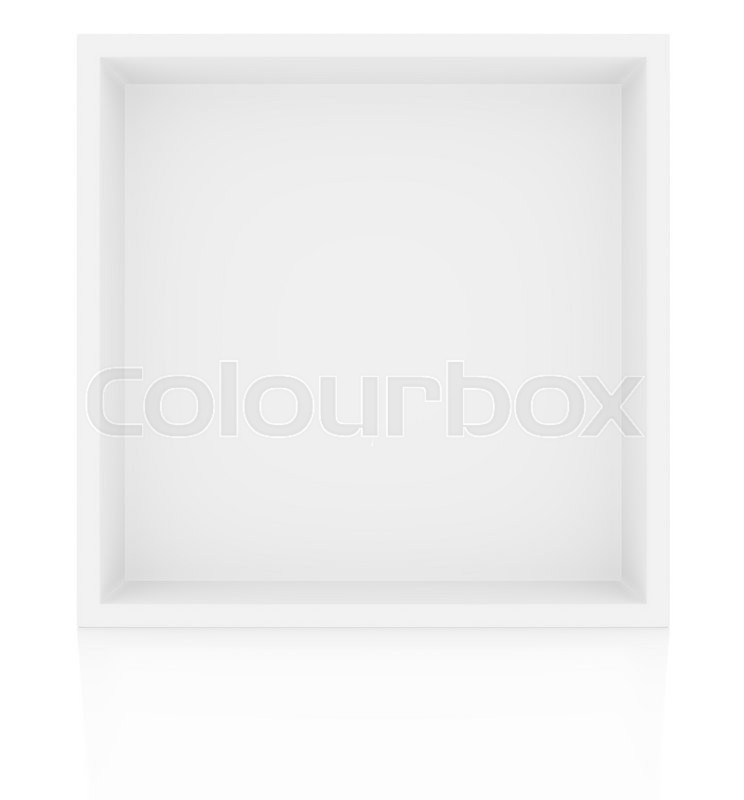 Stock image of 'Box shelf with reflection on floor, isolated on white background. 3D rendering'