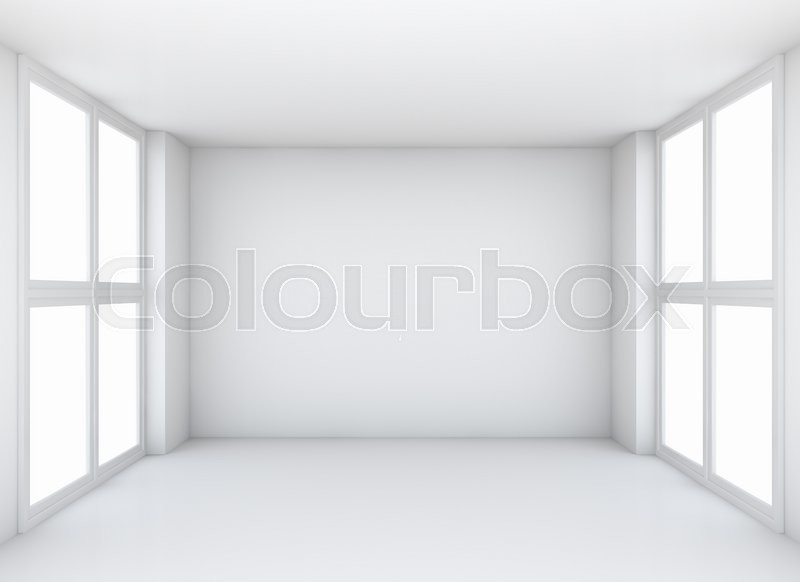 Stock image of 'Abstract white empty interior background with soft illumination, frontal view. 3d illustration'
