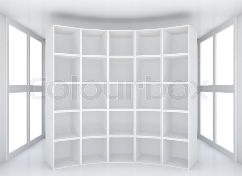 Stock image of 'Empty shelfbook for exhibition product in white clean showroom. 3D rendering'