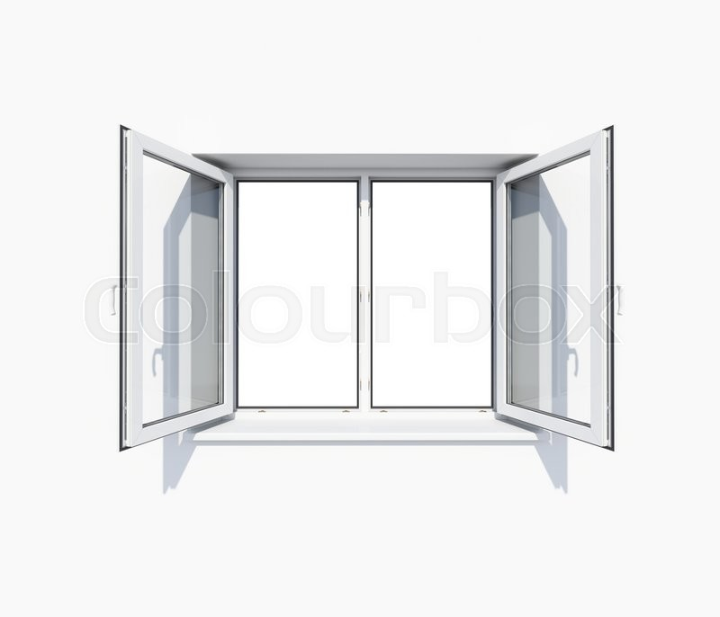 Stock image of 'Opened window on clean white wall. Business or web template. 3D illustration'