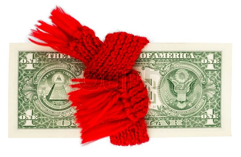 Stock image of 'Preservation of Finance. Dollar wrapped in a red scarf'