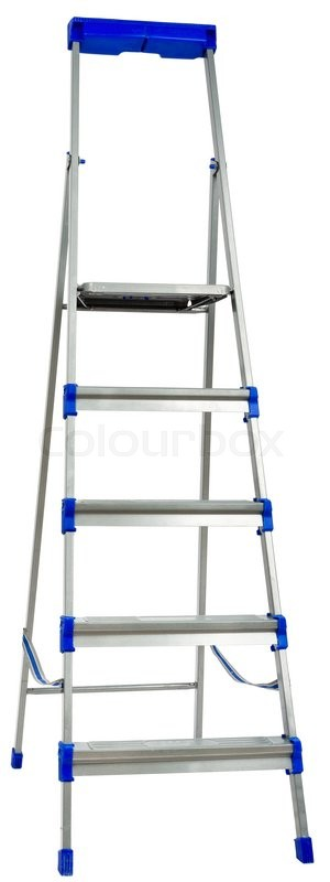 Stock image of 'New metallic step ladder isolated on white background'