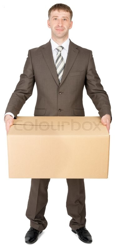 Stock image of 'Manager in suit holding parcel box, isolated on white background'