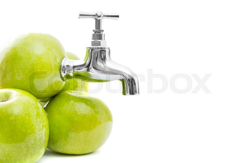 Stock image of 'Conception of apples with metal tap on white background.'