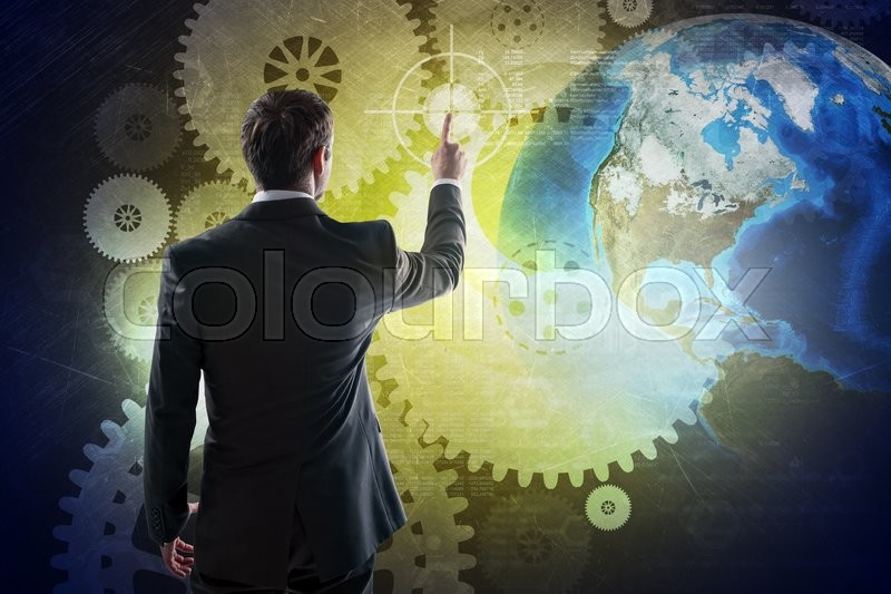 Stock image of 'Businessman in suit against digital background with icons and earth globe, rear view. Elements of this image furnished by NASA'