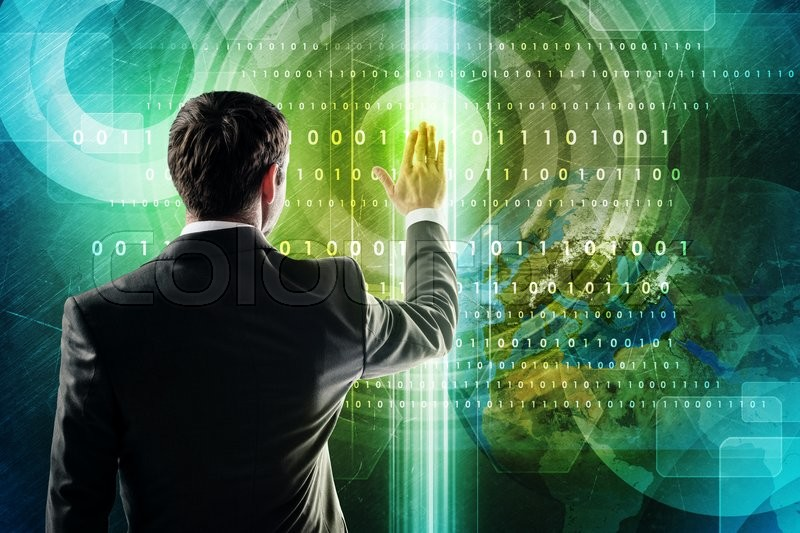 Stock image of 'Business and social networking concept - businessman pressing button on virtual screen. Elements of this image furnished by NASA'