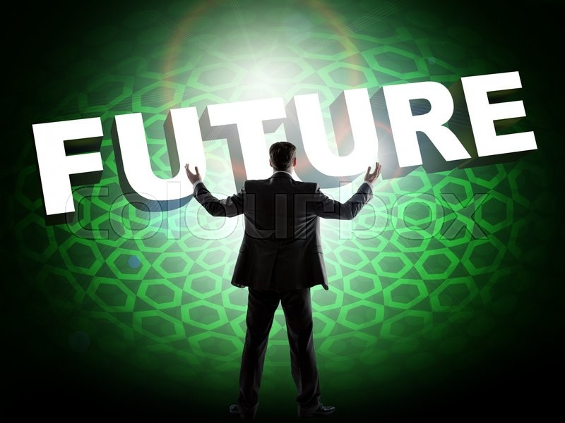 Stock image of 'Rear view of businessman in front of digital screen with word future'