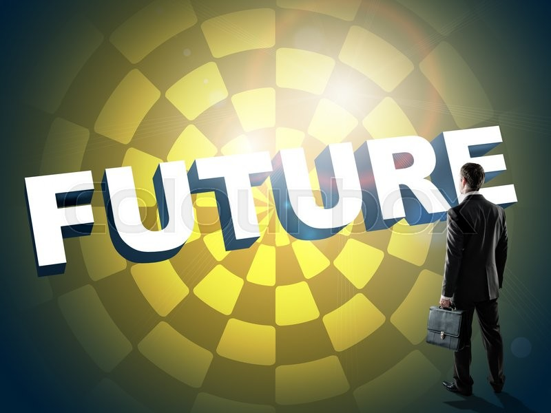 Stock image of 'Businessman looks on word future, technology concept. Abstract yellow background'