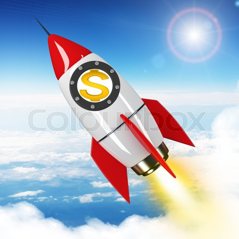Stock image of 'Dollar sign flying in sky on drawn red rocket'