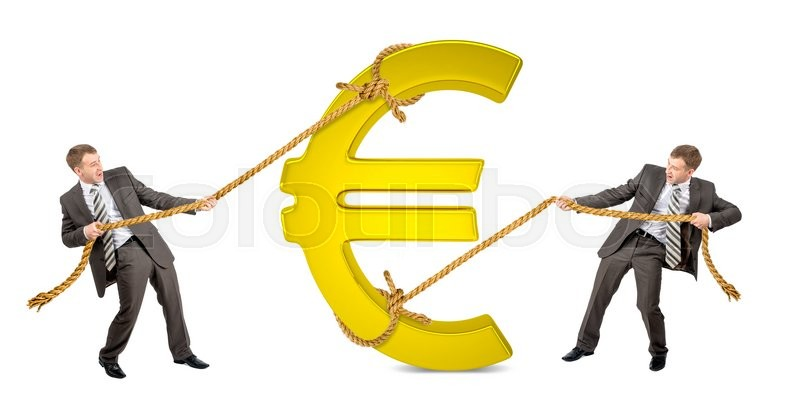 Stock image of 'Businessman pulling glowing euro sign against another man isolated on white background'
