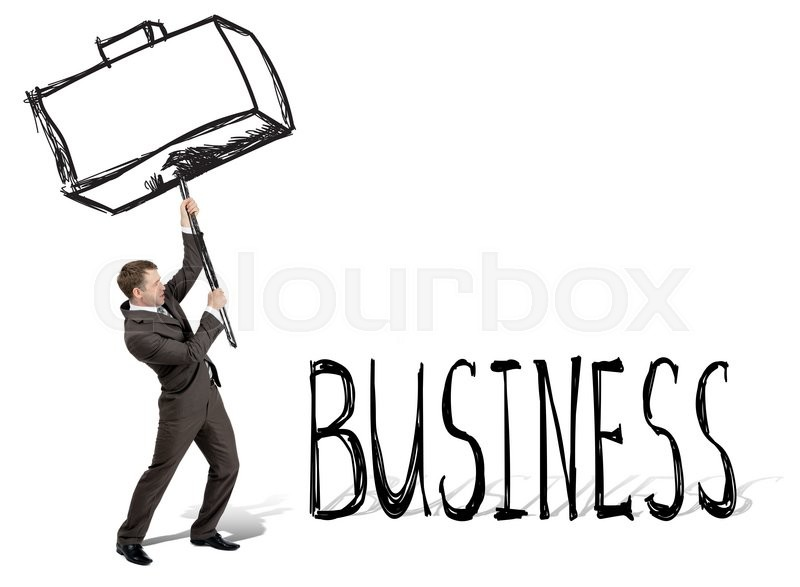 Stock image of 'Businessman with drawn hammer breaking word business isolated on white background'