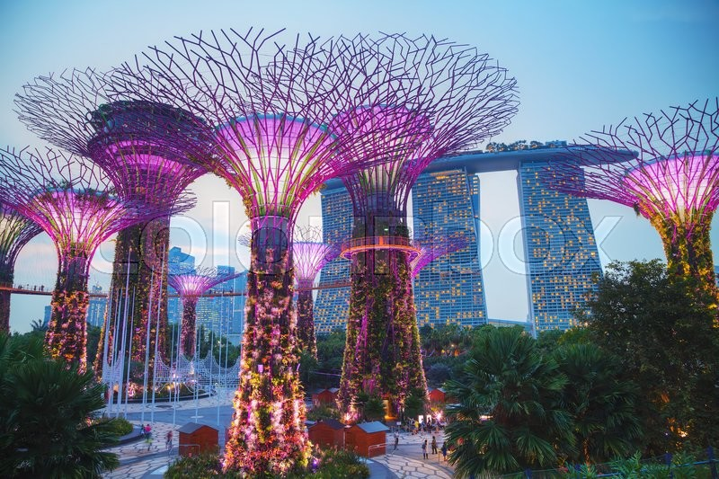 Editorial image of 'SINGAPORE - NOVEMBER 4: Gardens by the Bay park overview with people on November 4, 2015 in Singapore.'