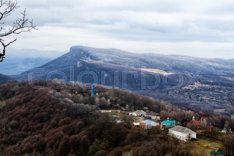Stock image of 'Spring on the Caucasus, Republic of Adygea winter mountain landscape'