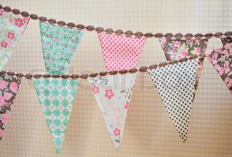 Stock image of 'colorful vintage flags. Party, baby room and wedding decor elements with various modern pattern.'