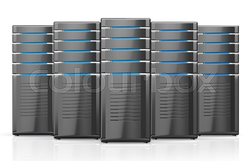 Stock image of '3D illustration of network workstation servers isolated on white background.'