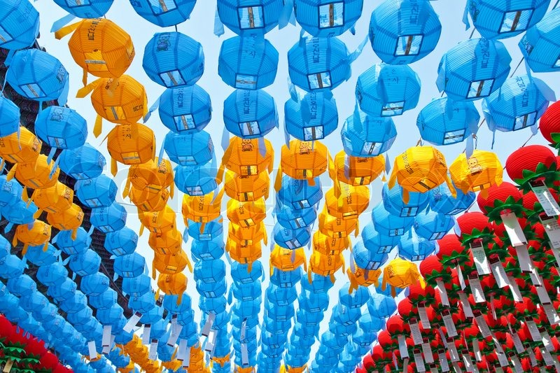 colorful paper lanterns in buddhist temple for celebration buddha s