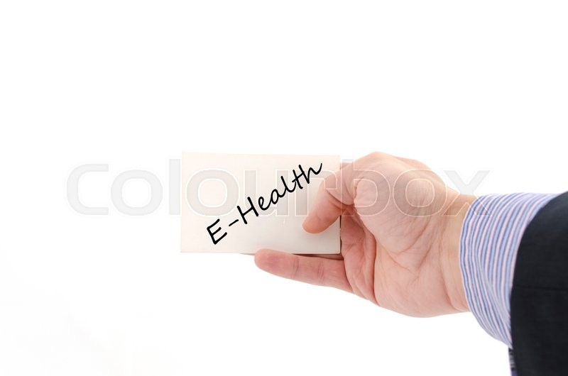 Stock image of 'E-health text concept isolated over white background'