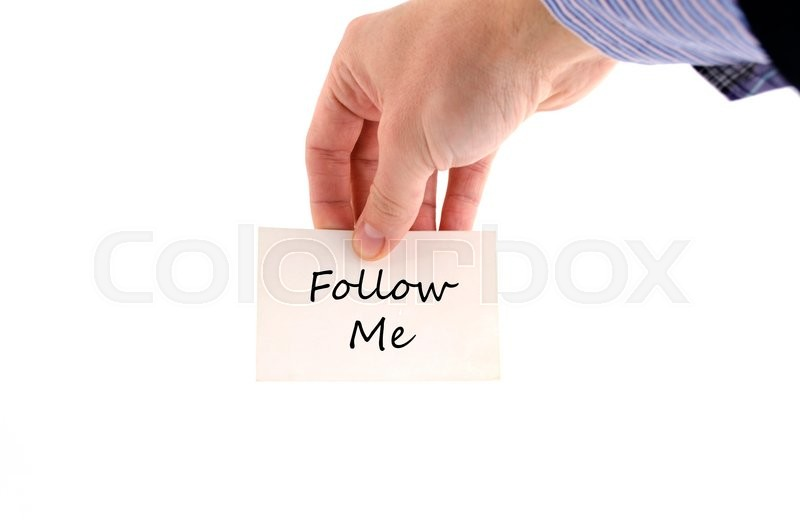 Stock image of 'Follow me text concept isolated over white background'