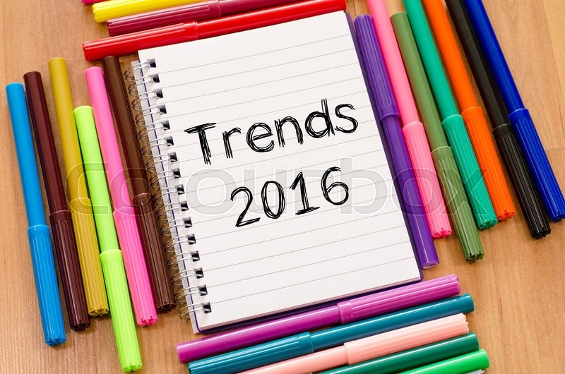 Stock image of 'Trends 2016 text concept and colored pens'
