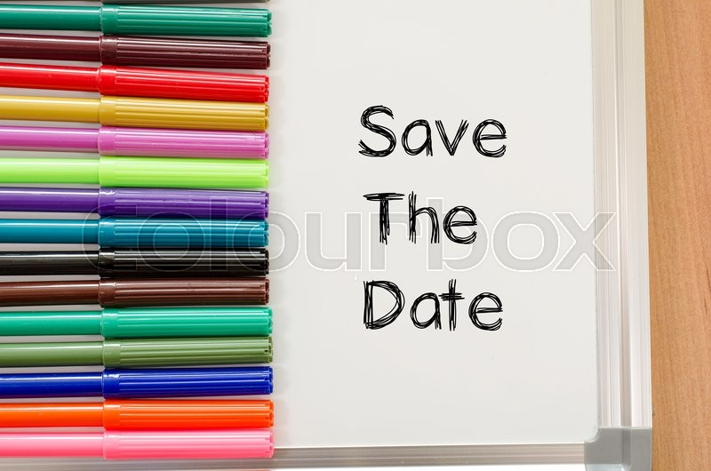 Stock image of 'Save the date text concept and colored pens'