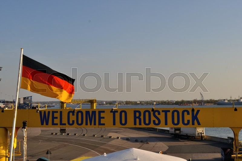 Stock image of 'rostock, germany, welcome'