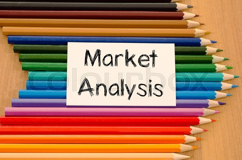 Stock image of 'Market analysis text concept and colored pencil on wooden background'