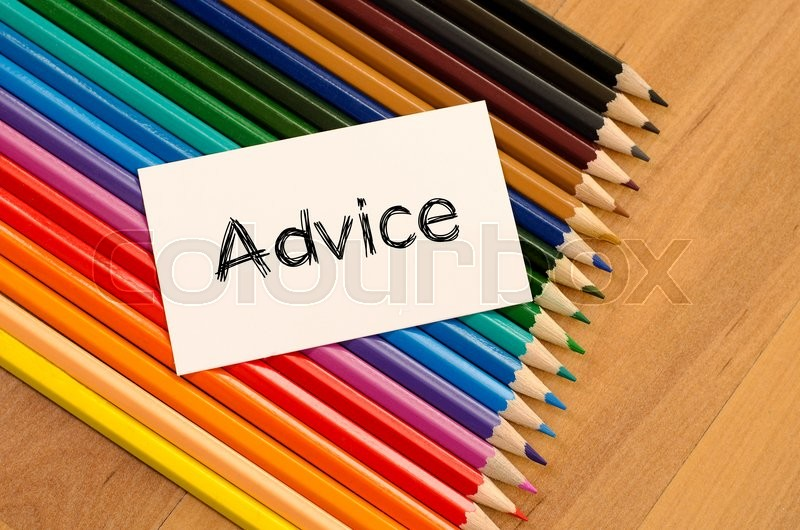 Stock image of 'Advice text concept and colored pencil on wooden background'
