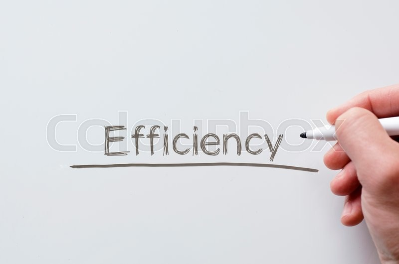 Stock image of 'Human hand writing efficiency on whiteboard'